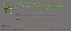 Claire Tennant Workshop - Gift Certificate